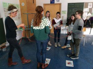 Die Schüler ordnen sich gemeinsam mit der betreuenden Lehrerin Christina Klotz entsprechend der textilen Kette an.